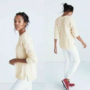 Madewell XXS Cream Cable Knit Crew Neck Sweater